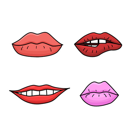 Set of doodle womens lips. Pink and red lipstick. Smiling and kissing