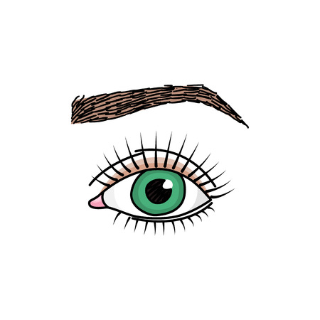 Doodle illustration with green eye with long lashes and brow 版權商用圖片