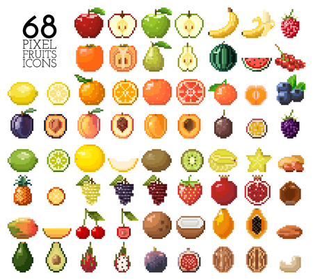 Big collection of pixel fruits, berries and nuts. Old style 8 bit icons. Apple, banana, cherry, lemon, mango, kiwi and other isolated on white background. Healthy food. Fresh and tasty exotic fruits 版權商用圖片