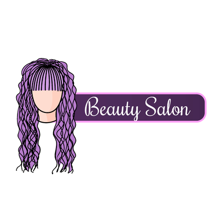 Beauty salon logotype with doodle illustration of beautiful hairstyle. Design template