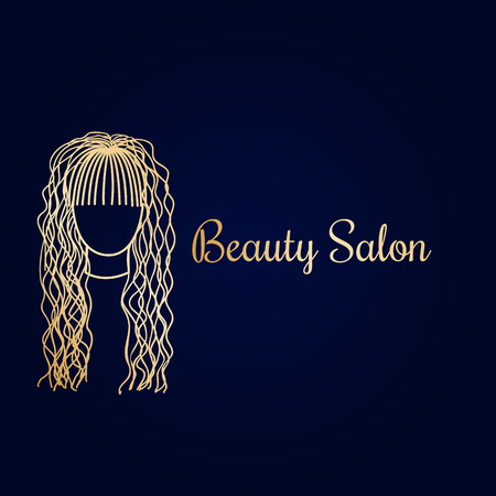 Beauty salon logotype with doodle illustration of beautiful hairstyle. Design template. Luxury gold  イラスト・ベクター素材