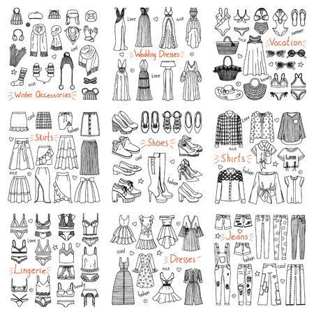 Big set of hand drawn fashion clothes and accessories. Dresses, jeans, lingerie, shoes, hats, scarfs and other in doodle style