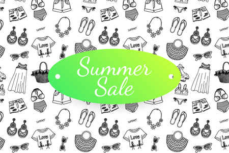 Summer sale banner with hand drawn fashion clothes and accessoires. Doodle illustration 版權商用圖片