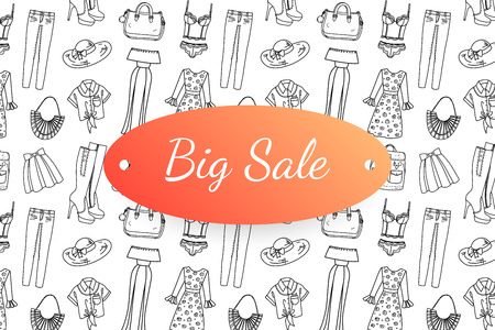 Big sale banner with hand drawn fashion clothes and accessories. Doodle illustration