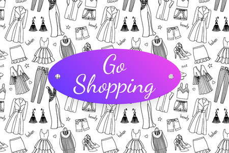 Go shopping banner with hand drawn fashion clothes and accessories. Doodle illustration 版權商用圖片