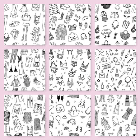 Collection of seamless patterns this hand drawn fashion clothes and accessories. Dresses, skirts, jeans, shirts, cosmetics and other in doodle style