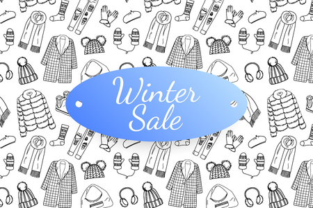 Winter sale banner with hand drawn fashion clothes and accessories. Doodle illustration