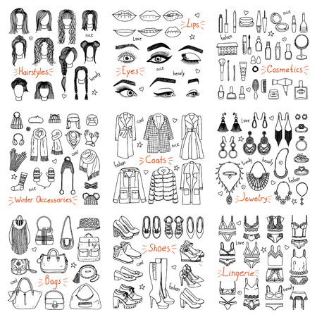手描きのファッション服やアクセサリーの大きなセット。コート、靴、化粧品、ヘアスタイル、ジューリーと落書きスタイルの他