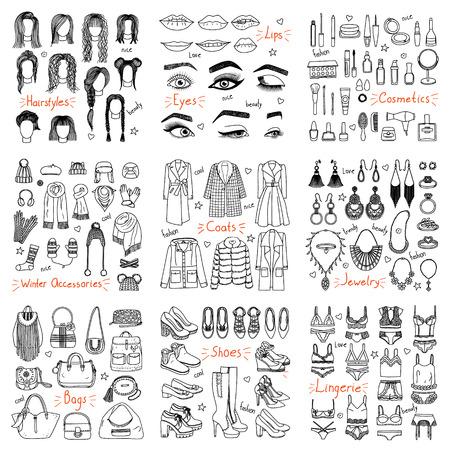 Gran conjunto de accesorios y ropa de moda hechos a mano. Abrigos, zapatos, cosméticos, peinados, joyería y otros en estilo doodle