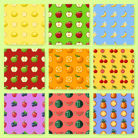 Set of seamless patterns with pixel fruits and berries. Background with apple, banana, watermelon, cherry and other. Old fashion 8 bit style