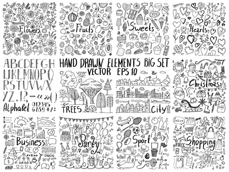 Big collection of hand drawn elements. Doodle flowers, food, holidays, business, sport and other creative design elements 版權商用圖片