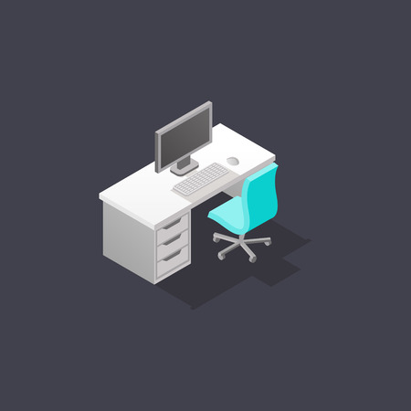 Low poly isometric work place with chair, table, computer, keyboard and mouse