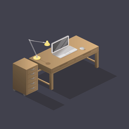 Low poly isometric work place with table, laptop, mouse and lamp