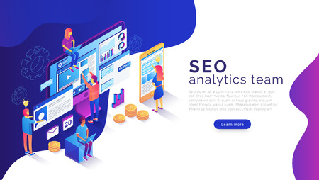 Seo analysis and optimization landing page template. 3d isometric illustration with team of specialists working with web pages and mobile apps and websites 版權商用圖片