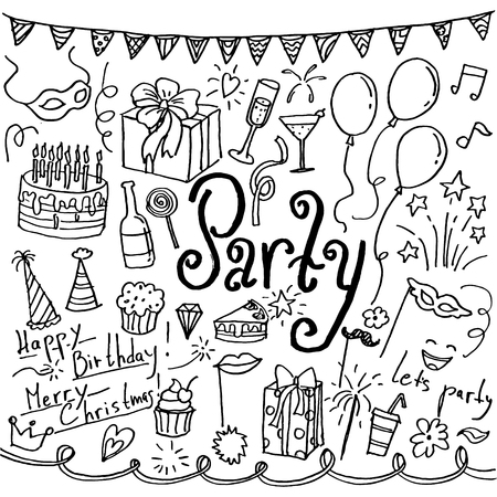 Set of hand drawn doodle party icons. Collection of design elements 矢量图像