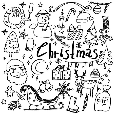 Set of hand drawn doodle christmas and new year icons. Santa, gifts, deer, snowflakes and other. Collection of design elements