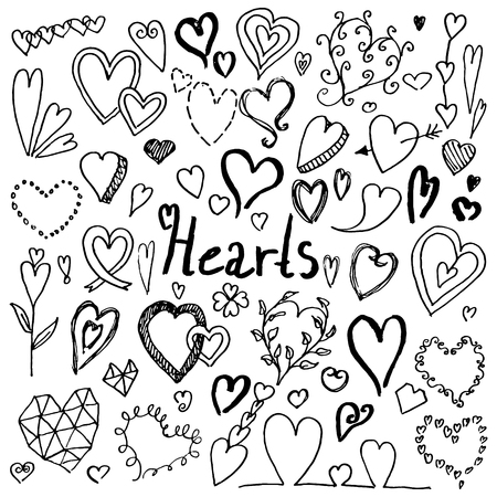 Set of hand drawn doodle hearts. Collection of design elements