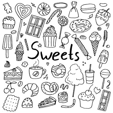 Ensemble de bonbons doodle dessinés à la main. Chocolat, bonbons, gâteaux, glaces et autres. Collection d'éléments de conception