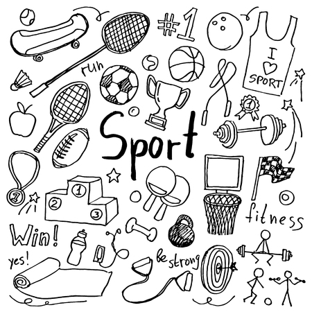 Set of hand drawn doodle sport icons. Collection of design elements