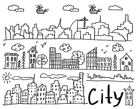 Set of hand drawn doodle cities. Street with houses and trees. Collection of design elements