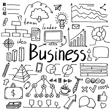 Set of hand drawn doodle business icons. Collection of design elements
