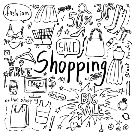 Set of hand drawn doodle shopping and fashion icons. Collection of design elements 版權商用圖片