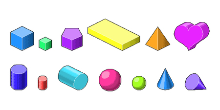 Collection of colorful pixel art 3d isometric shapes. Old fashion 8 bit game. Different colors 向量圖像