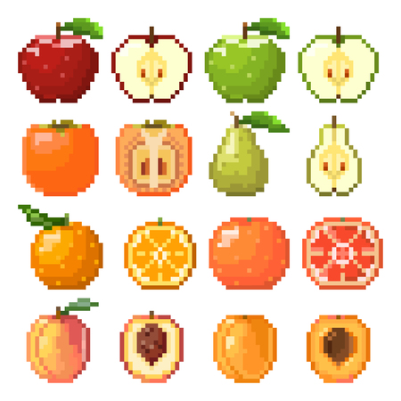 Collection of pixel fruits including apple, pear, peach, orange, grapefruit, apricot isolated on white background. Healthy food. Fresh and tasty fruits. Old style 8 bit icons. 版權商用圖片