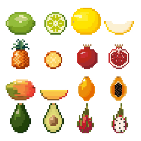 Collection of pixel fruits including lime, melon, pineapple, garnet, mango, avocado isolated on white background. Healthy food. Fresh and tasty exotic fruits. Old style 8 bit icons. 版權商用圖片