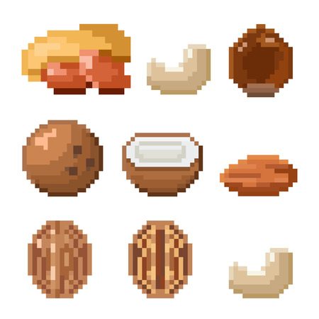 Collection of pixel nuts including peanut, cashew, hazelnut, coconut, almond, walnut isolated on white background. Healthy food. Old style 8 bit icons.