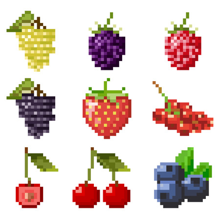 Big collection of pixel berries including strawberry, cherry, currant, raspberry, blueberry, grape isolated on white background. Healthy food. Fresh and tasty berries. Old style 8 bit icons.