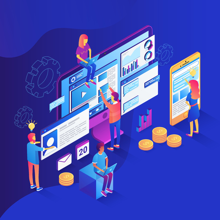 Seo analysis and optimization illustration. 3d isometric illustration with team of specialists working with web pages and mobile apps and websites on computers and phones