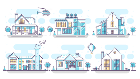 Line art houses in blue and yellow colors. Flat design collection