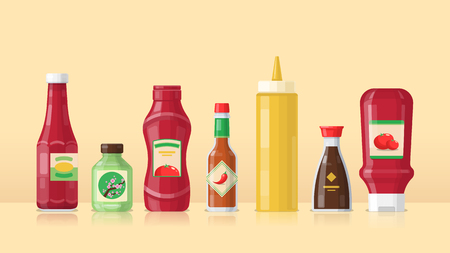Set of different bottles with sauces - ketchup, mustard, soy sauce, wasabi. Flat design in yellow, red and green colors