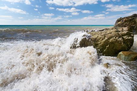 Storm large wave on the shore of the Black Sea Crimea Stock Photo