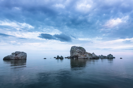 endlessly: Crab Island Sudak  bright saturated colors evening footage Stock Photo