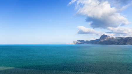 panorama of the mountains of Sudak  bright summer photo trip to the Crimea Stock Photo