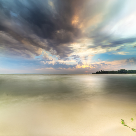 early autumn shore  bright morning landscape sunrise Ukraine Stock Photo