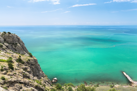 the turquoise waters of Crimea  photo bright summer trip to the Crimea