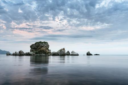 sudak: Sudak crab island  evening photo trip to the Crimea Stock Photo