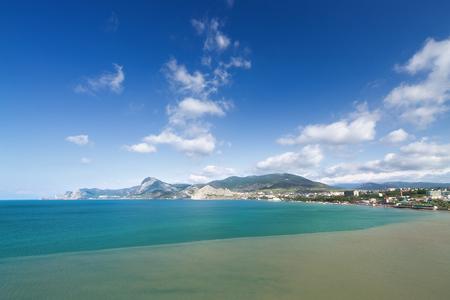 sudak: Sudak  bright daytime photo of the view from Cape Alchak Stock Photo
