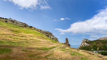 trail near mountain peaks  bright summer landscape travel Crimea