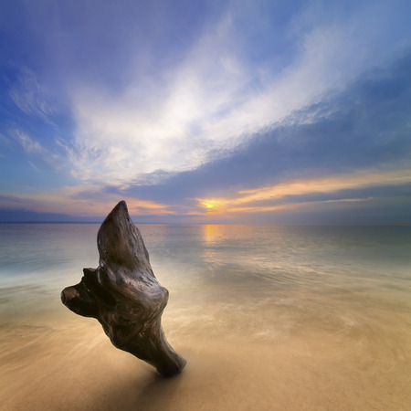 mid morning: sunrise on the water  Early summer morning bright sky Beach Stock Photo
