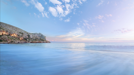waves before sunset  colorful evening picture of the Crimea Sudak