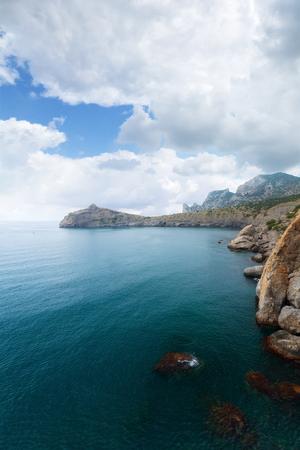 sudak: Cloudy day Crimea trail Golitsyna  daytime scenery travel of the Crimea Noviy Svet Stock Photo