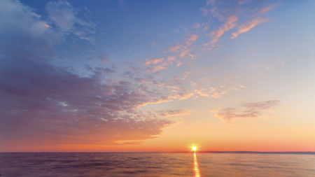 fabulous colorful dawns early spring  Raamat on the river calm, windless weather Stock Photo