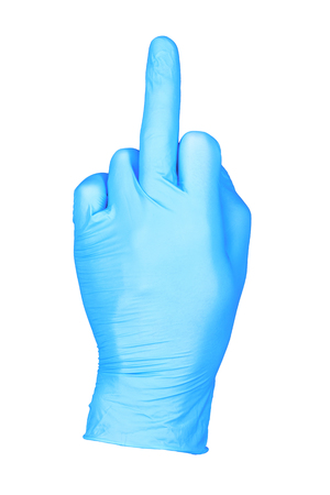 photo hand isolated glove middle finger / hand in middle finger up position