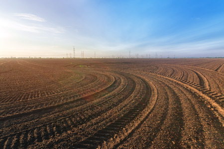 agriculture the land is ploughed to the field / background photo out of the city agriculture