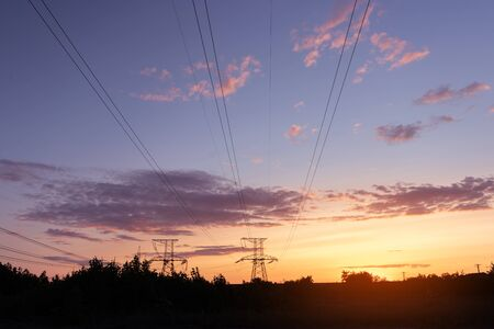 power line in the sunlight / bright abstract photo of the industrial zone