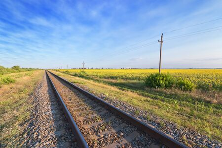 railway passing near the field  bright summer landscape of the field of Ukraine 写真素材